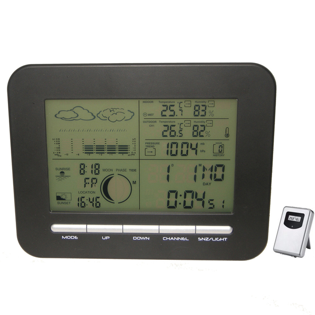 Digital Table Dual Alarm Clock Barometer Weather Station W Indoor Thermometer Hygrometer Wireless Outdoor Temperature Humidity
