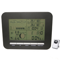Digitale Tafel Dual Wekker Barometer Weerstation W/Indoor Thermometer Hygrometer Wireless Outdoor Temperatuur Vochtigheid