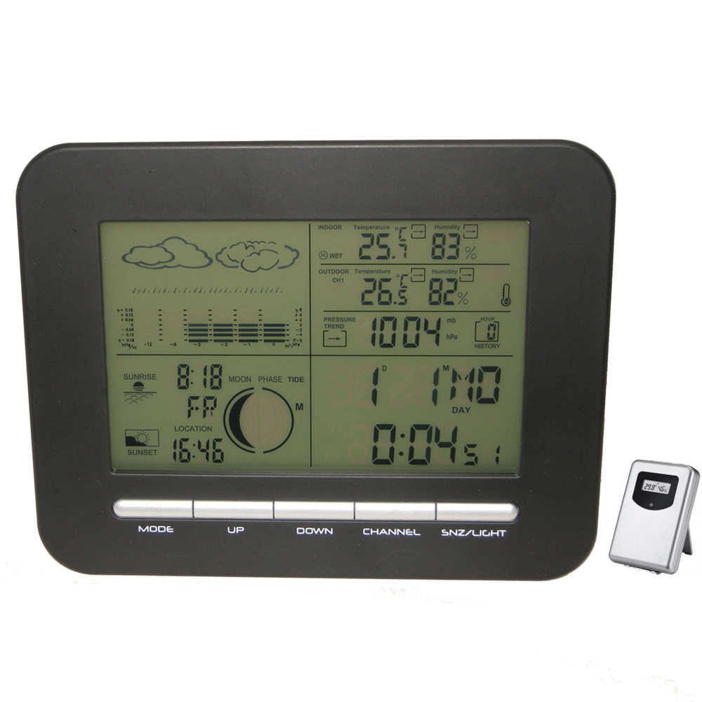 Meja Digital Dual Alarm Clock Barometer Cuaca W/Indoor Thermometer Hygrometer Wireless Outdoor Suhu Kelembaban