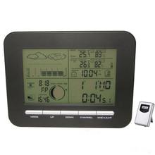דיגיטלי שולחן מעורר כפול שעון ברומטר מזג אוויר תחנת w/מקורה מדחום מדדי לחות אלחוטי חיצוני טמפרטורת לחות