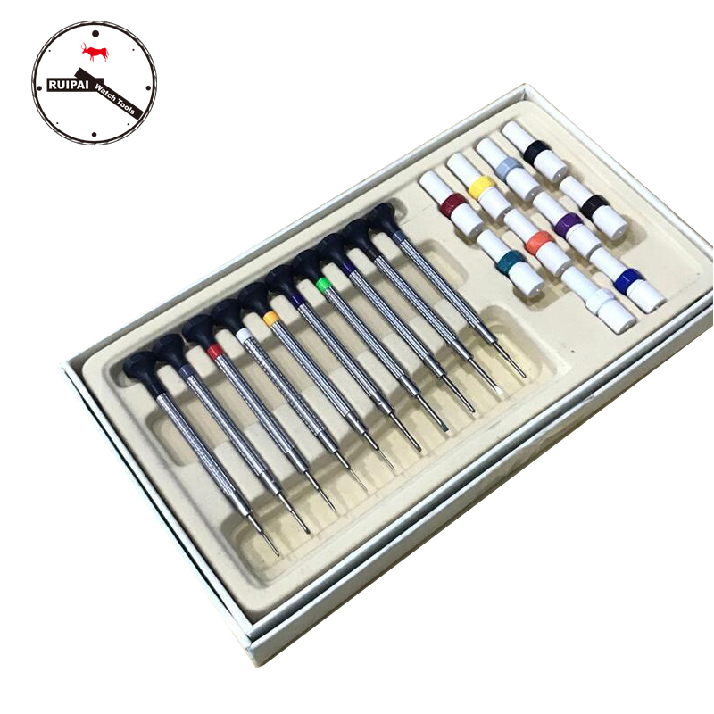 10pcs/set Watch Repair Tools Flat / Cross type Stainless Steel Screwdrivers with extra driver head for each size screwdriver