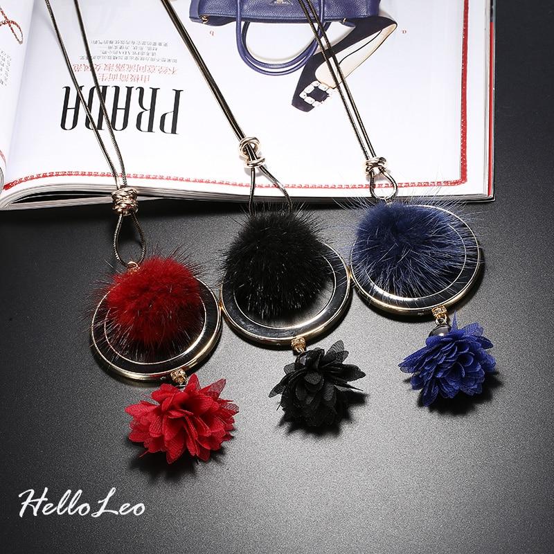 2017 Brand New Pendant Women Necklace Flirtatious Fur Ball Long Winter Sweater Necklaces Necklace Bijoux Flirtatiou Gift