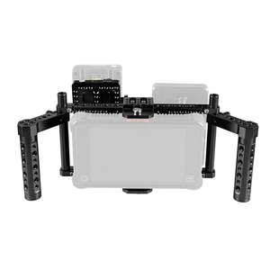 Image 1 - CAMVATE מתכוונן DSLR מצלמה צג מלא Rig כלוב עם כפולה גבינת ידית & מצלמה וידאו V נעילת שחרור מהיר סוללה צלחת