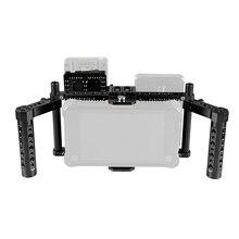 CAMVATE ayarlanabilir DSLR kamera monitörü tam kafes Rig çift peynir kolu ve kamera Video V kilit hızlı bırakma pil plakası