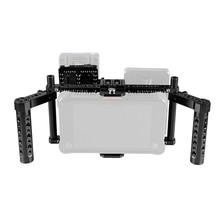 Camvate ajustável dslr câmera monitor completo equipamento gaiola com duplo queijo lidar com & câmera de vídeo v bloqueio liberação rápida bateria placa