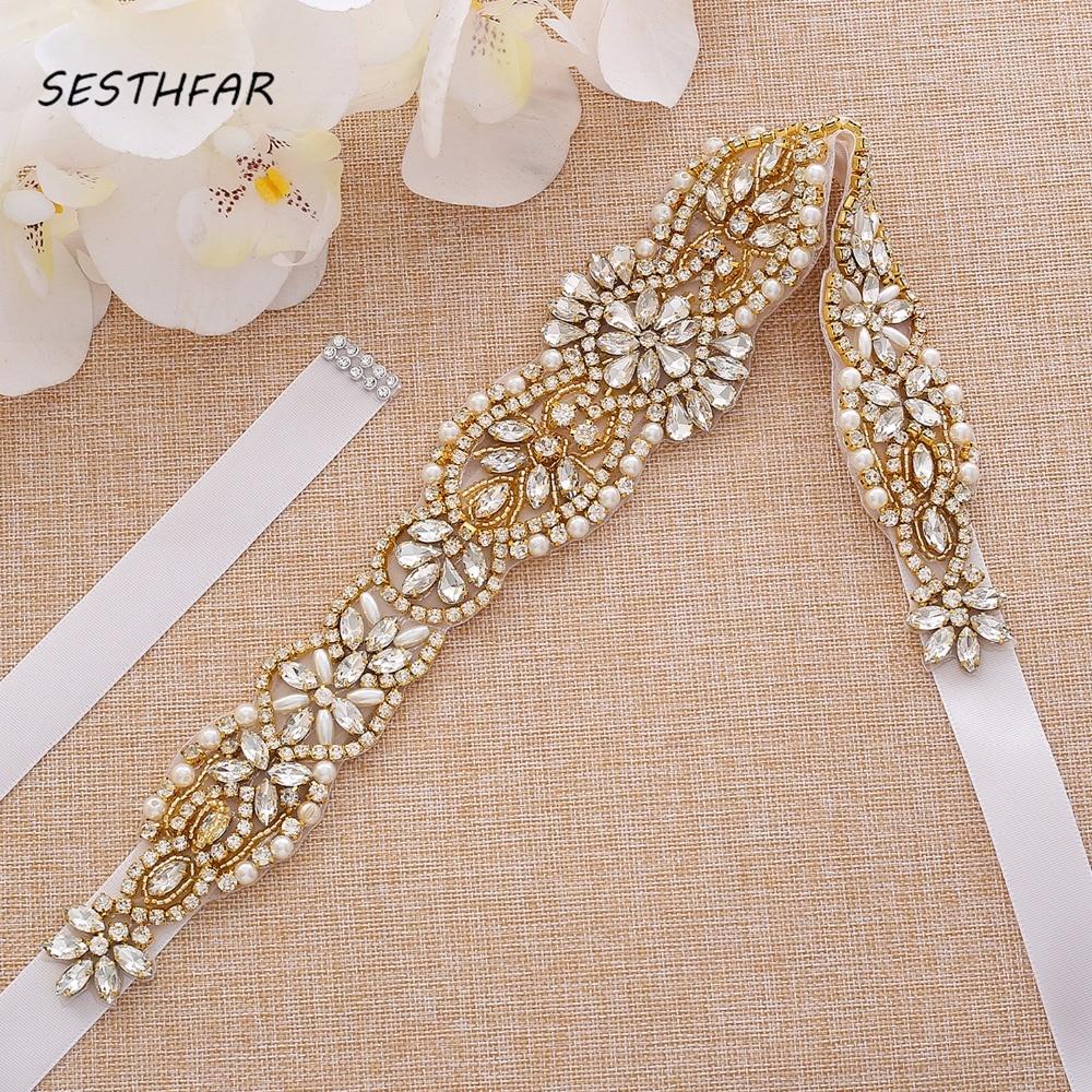 Diamond Wedding Belt Handmade Crystal Flower Bridal Belt Gold Rhinestones Belt Sash For Wedding Dresses J184G
