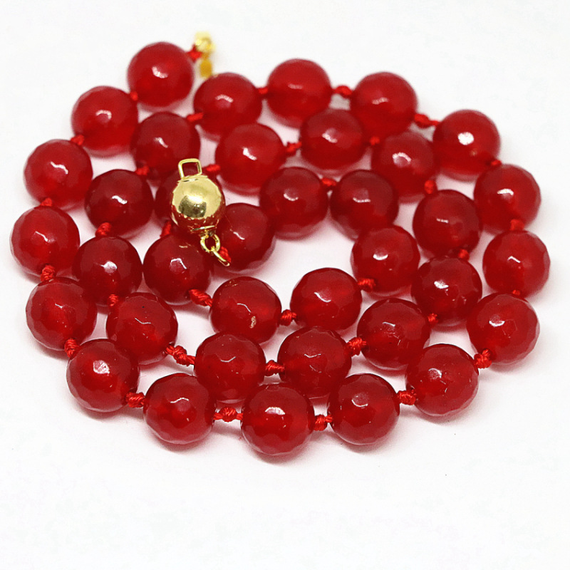 Jewelry & Accessories Charms Red Jades Stone Strand Necklace For Women Chalcedony Dyed Faceted Round Beads 8,10,12mm Necklaces Jewelry 18inch B1464