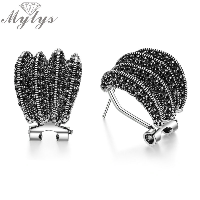 Mytys Brand New Design Black Marcasite Earrings for Women Dignified Antique Earrings Retro Design Vintage Jewelry Gift CE354 bicyclo wave design earrings