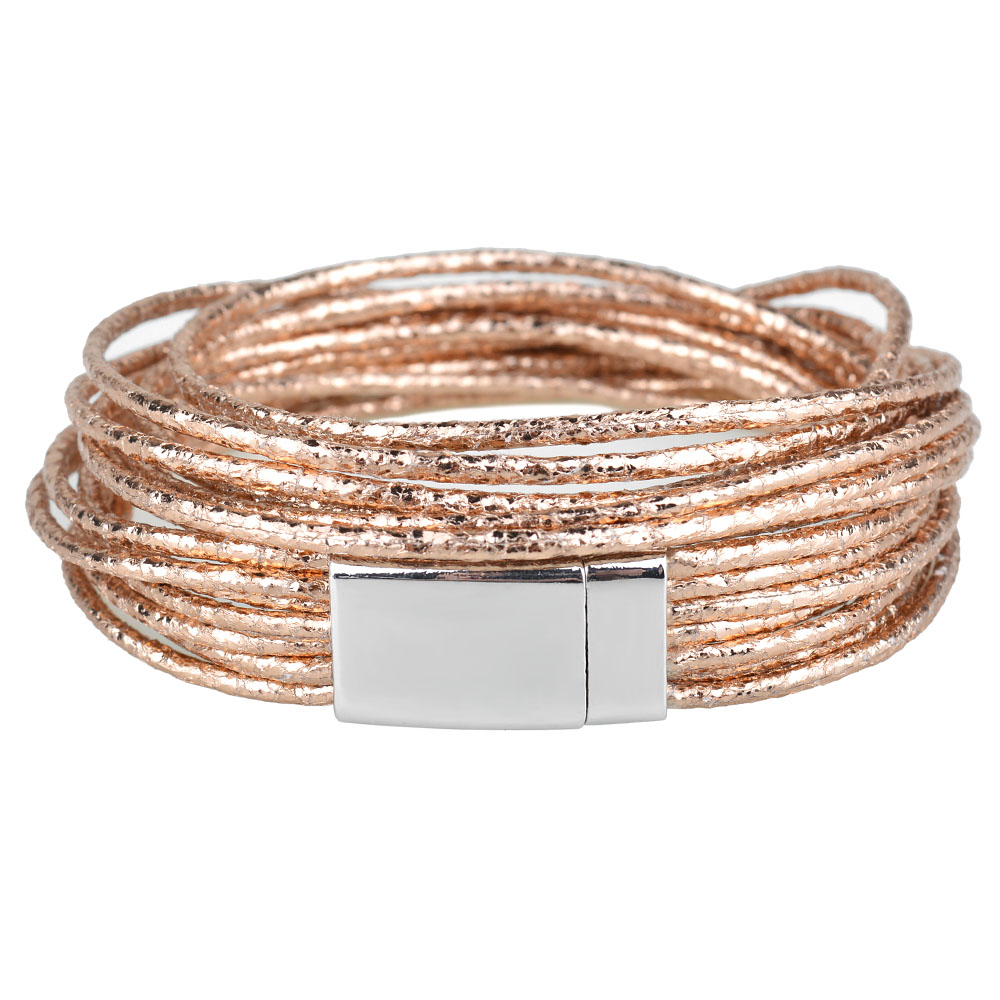 Kirykle 4 color metallic charm bracelet multiple layers wrap leather bracelet High quality magnetic clasp bracelet for women