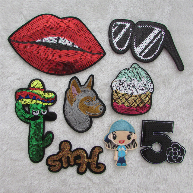 hot sale 8 kind style hot melt adhesive applique embroidery patches stripes  DIY clothing accessory patch