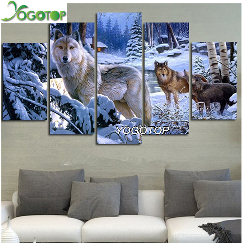 YOGOTOP DIY Diamond Painting Cross Stitch 5D Diamond Embroidery Full Diamond Mosaic Home Decoration Snow Wolf