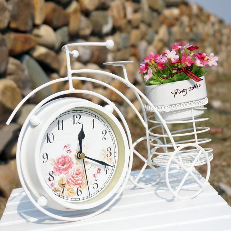 Rural  Iron Bicycle Mute Desktop Clock With  Flower Vase  Home Decoration Vintage Table clock|table clock|iron table clocks|vintage bicycle clock - title=