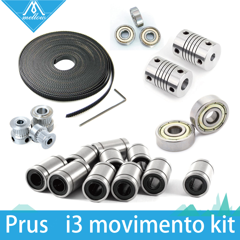 Free shipping! 3d printer reprap i3 movement kit GT2 belt pulley 608zz bearing lm8uu 624zz bearing