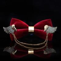 Free shipping New 2017 men's man male fashion Headdress red velvet wedding bow tie luxury retro neck ties black Wing bowtie