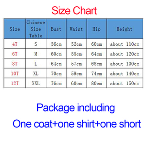 Image 5 - New Kids Halloween Cosplay Costumes Girls Clothing Children Jacket Cosplay Suit 3 pcs Jacket+T shirt+Shorts