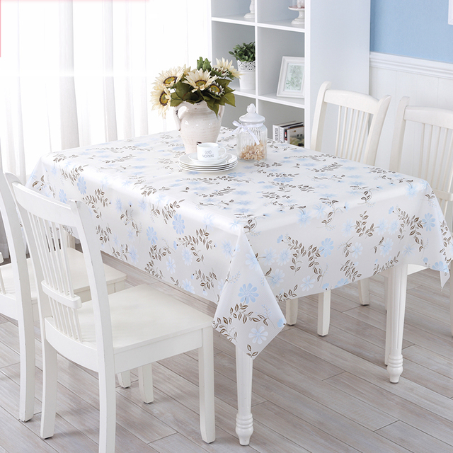 Waterproof Oilproof Pvc Table Cloth Fl Printed Disposable Plastic Tablecloth Rectangular Cover Christmas Decoration