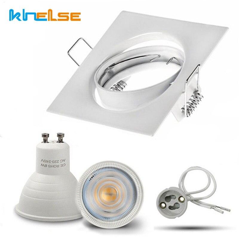 Methodisch Quadratische Weiße Downlight Einbau Beleuchtung Kit Fitting Cob 6 W Led-lampe Gu10 Mr16 Decke Spot Licht Leuchte Mit Mr16 /gu5.3 Buchse Wasserdicht StoßFest Und Antimagnetisch Led-downlights Led-beleuchtung