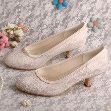 Wedopusหวานผู้หญิงแต่งงานปั๊มเปลือยรอบนิ้วเท้าส้นต่ำลูกไม้พรหมรองเท้าแต่งงาน