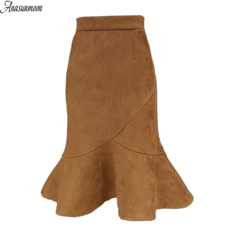 Otoño primavera Flounced Faux Suede faldas Bodycon Midi falda sirena Slim  lápiz cintura alta Wrap Hips a96d2c0c2511