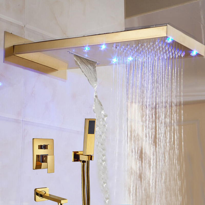 Wholesale And Retail LED Golden Wall Mount Shower Head 3 Ways Mixer Rainfall Shower Faucet Tub Spout W/ Hand Shower Bath Shower