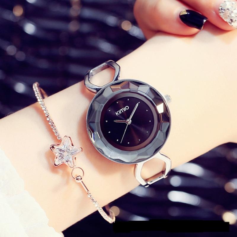 KIMIO Fine Big Dial Multi-faceted Waterproof Watch Women's Bracelet Watch 2018 Fashion Lady Dress Wristwatch Relogio Masculino