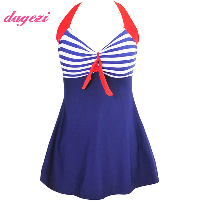 60eb3e22a6e Hot Striped Print Swimsuit Full Coverage Halter One Piece Swimsuit Dress  Women Skirt Swimwear Plus Size