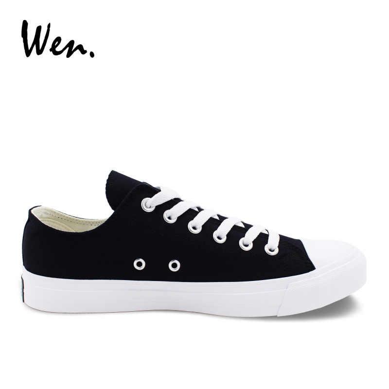 b483c205 ... Вэнь парусиновая обувь кроссовки с низким берцем однотонные черные  Скейтбординг обувь классические Белые кеды Для женщин ...