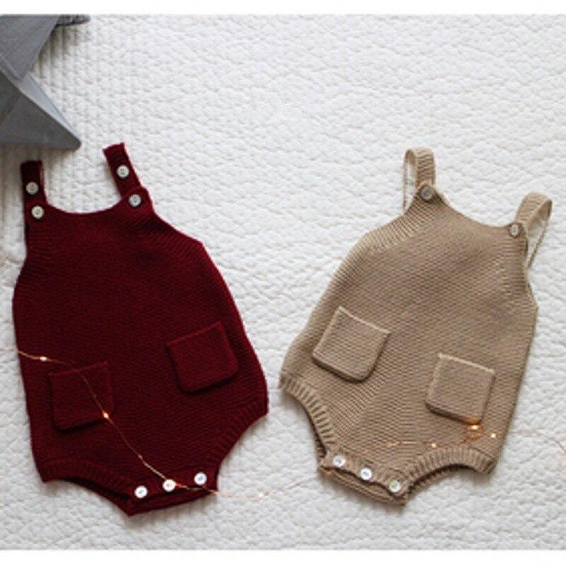 Mamelucos tejidos para bebés 2017 niños pequeños niñas hechos a mano de lana monos de punto overoles Correa pantalones ropa infantil
