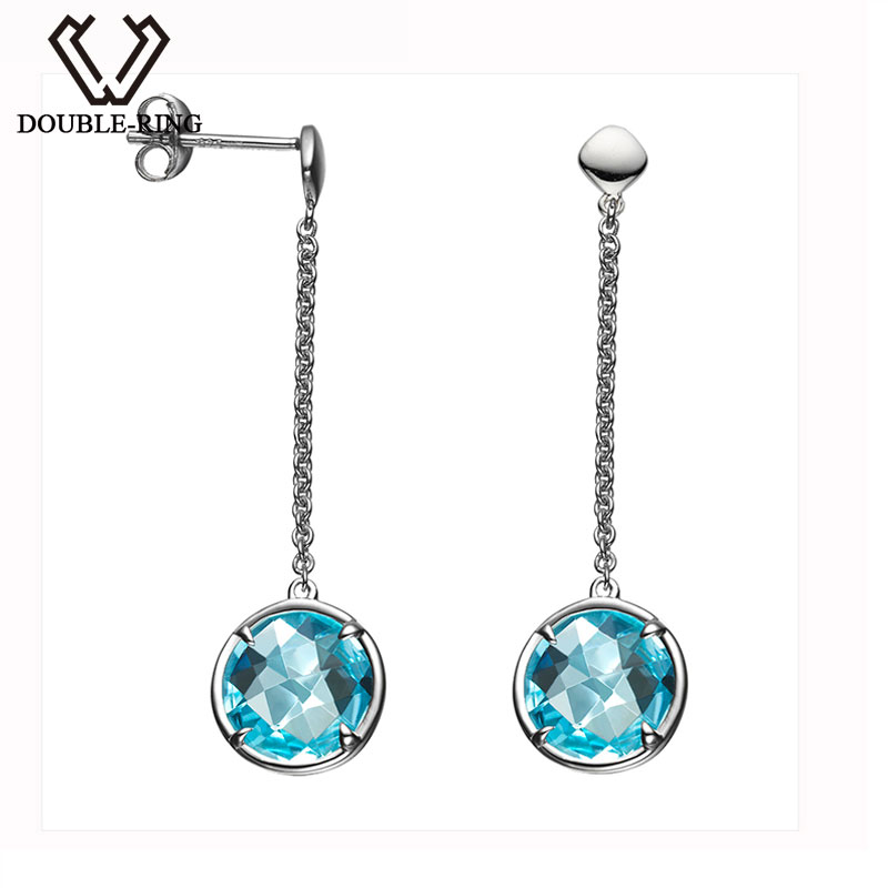 DOUBLE-R Natural Long Blue Topaz gemstone earing 925 sterling silver earrings for women drop earrings fashion jewelryDOUBLE-R Natural Long Blue Topaz gemstone earing 925 sterling silver earrings for women drop earrings fashion jewelry