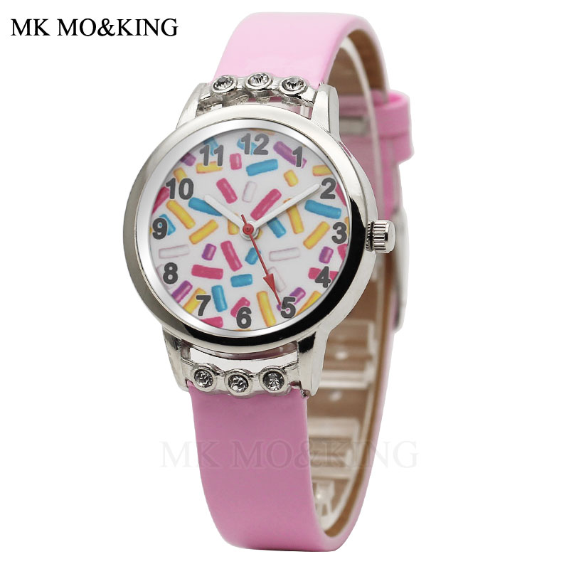 Luxury Cartoon Candy Children's Boys Girls Kids Quartz Leather Wrist Watch Clock Gifts Bracelet Relojes Synokeable Mk Kittyed Dw