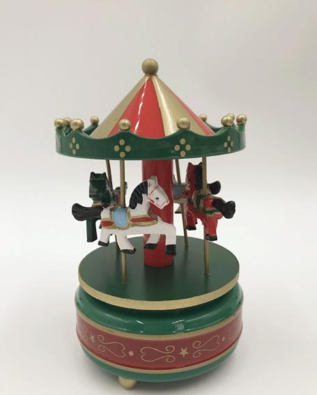 Круглые музыкальные шкатулки Merry-go-round, геометрические музыкальные украшения для детской комнаты, подарки унисекс, Деревянная Рождественская карусель, коробка для домашнего декора, 1 шт - Цвет: 1