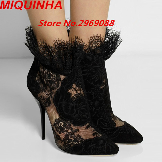 9f78f21e8a02 Nubuck Leather High Heel Woman Shoes Lace Mesh Breathable Pumps Black  Flower Party Shoes Fashion Sandals Ankle Boots