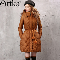 Artka Women S Autumn Winter New Solid Color Patchwork Down Coat Hooded Long Sleeve Drawstring Waist