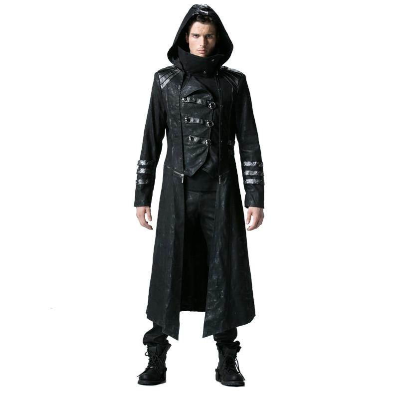 Abrigo largo gótico negro de invierno para hombre chaquetas de cuello alto de sarga Steampunk abrigos de cuero Punk con dobladillo desmontable y sombrero