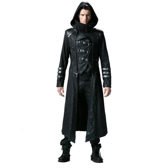 b5e54064997d Gothique Noir Hiver Long Manteau des Hommes Steampunk Sergé Col Haut Vestes  Punk En Cuir Manteaux
