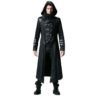 Gothic Black Winter Men S Long Coat Steampunk Twill High Collar Jackets Punk Leather Coats Overcoats