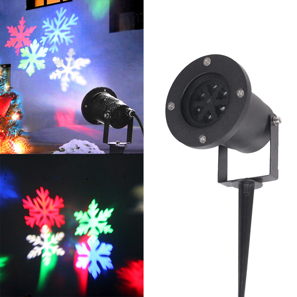 ФОТО Laser Projector Lamps Snowflake LED Stage Light Christmas Party Landscape Light Waterproof Outdoor Garden Lawn Lamp