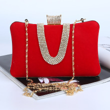 New 2016 Fashion Simple Rhinestone Evening Bags Handbag Luxury Retro Handmade Bag for Party with Shoulder Chain Free Shipping