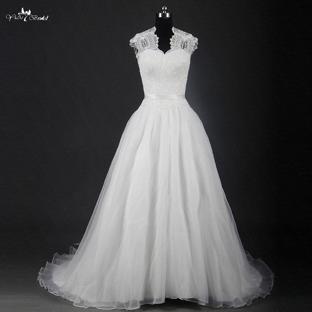 RSW1216 Illusion Queen Anne Neckline Mett Organza Skirt A Line Wedding Gowns