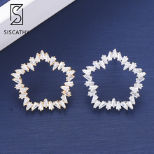 Siscathy Charms Unique Korean Women CZ Earrings Trendy Geometric pentagon Shape Cubic Zirconia Jewelry Inlaid Stud