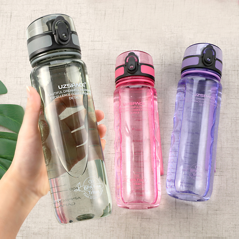 UZSPACE Water Bottles BPA Free Portable Leakproof Transparent Plastic Shaker Bottle Outdoor Sports Travel Camp Bottle 350/500ml|Water Bottles|   - AliExpress