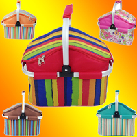 New multi colors option Storage basket Aluminum Frame Folding Picnic Baskets Foldable Shopping cooler basket