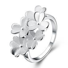 Cor prata Anel de Dedo Cluster Flores Mulheres Do Partido Jóias Acessórios de Moda