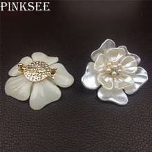 PINKSEE Fashion White Peony Brooches For Women Corsages Men Kids Sweater Suit Accessories Pins Charm Jewelry