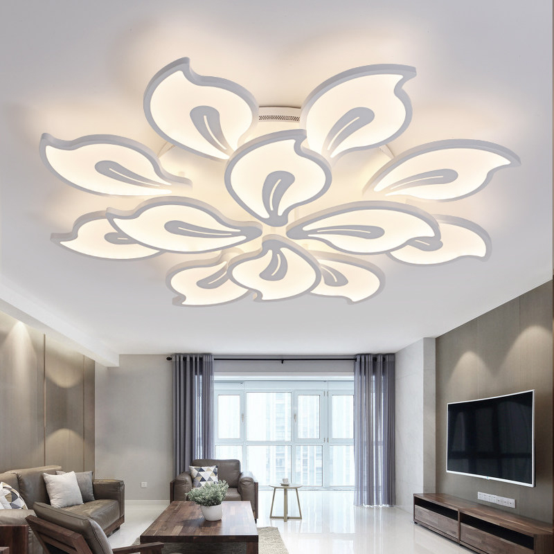 Modern LED Acrylic Ceiling Lighting Remote Control Flower Flush Mount LED Lighting Fixture for Living Dining Room Decoration