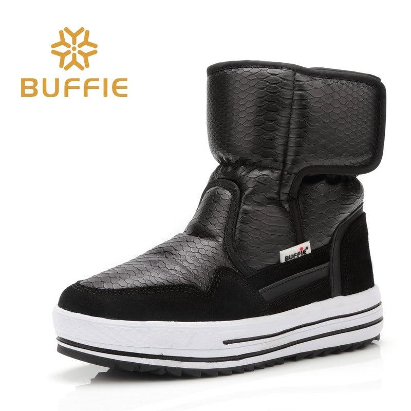 Buffie vinter pälsstövlar mode varma skor pojkar flickor svarta stövlar vattentäta märkesstil snygging kvinnliga kvinnors snö stövlar