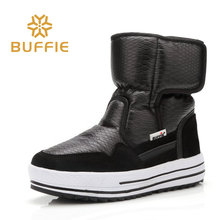 Buffie Winter fur boots fashion warm shoes boys girls black boots waterproof brand style nice looking  female womens snow boots