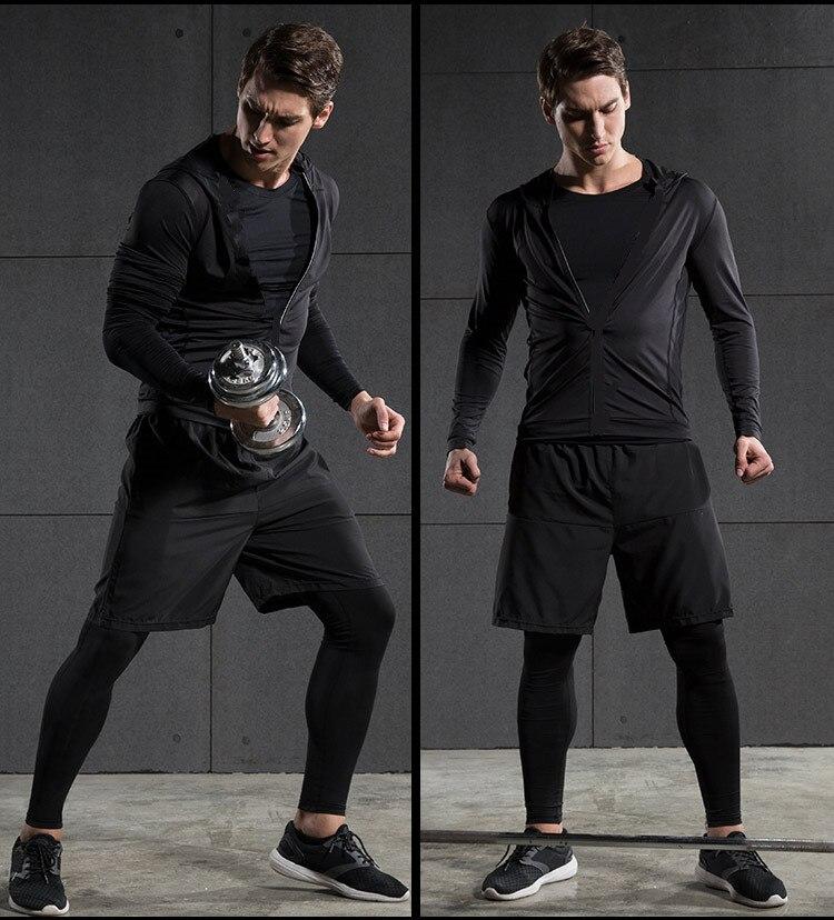 2017 Winter Outdoor Quick Dry Lauf Sets Männer Compression Sport Anzüge Jogging Basketball Strumpfhosen Kleidung Gym Fitness Sportswear - 2