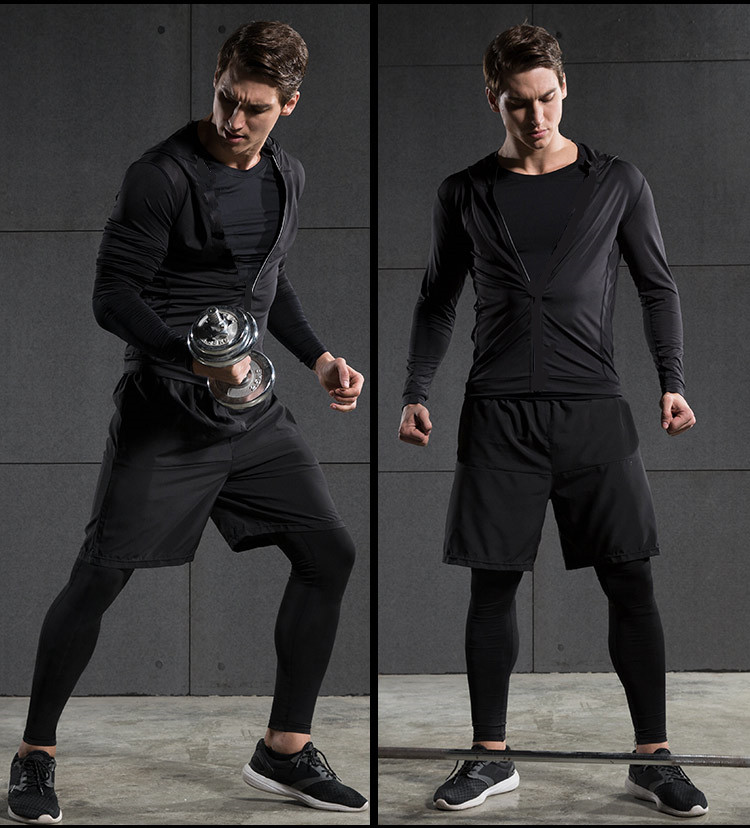 2017 Winter Outdoor Quick Dry Running Sets Men Compression Sports Suits Jogging Basketball Tights Clothes Gym Fitness Sportswear - 2