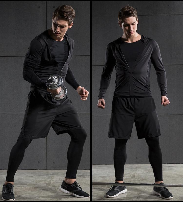 2017 hiver en plein air séchage rapide ensembles de course hommes Compression Sports costumes Jogging basket ball collants vêtements Gym Fitness Sportswear - 2